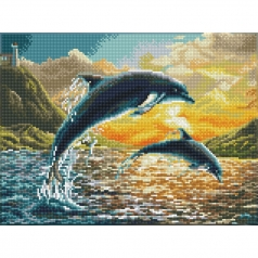 dolphin sunset - diamond dotz squares dq9.012 42x32cm