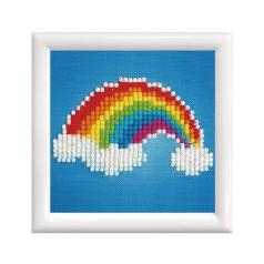 ever living rainbow with frame white - diamond dotz beginner dd1.007f 10,2x10,2cm