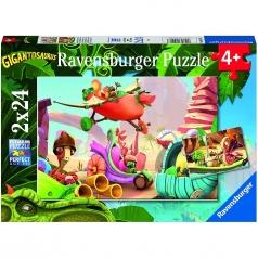 gigantosaurus rocky, billy, mazu e tiny - puzzle 2x24 pezzi