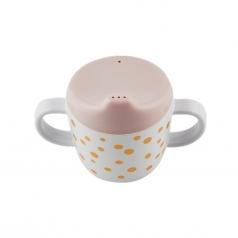 tazza spout con beccuccio e manici happy dots, rosa cipria/oro - 230 ml