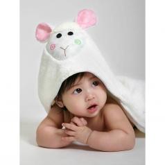 asciugamano baby con cappuccio, lola l'agnellino - 100% cotone