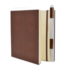 notebook quaderno con 1 penna - colore marrone