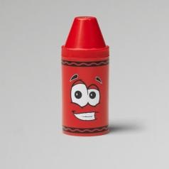 tip mini storage rosso - set con 6 pastelli a cera e rotolino di carta
