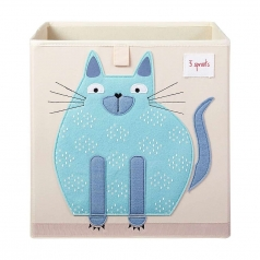 contenitore portaoggetti gatto blu - compatibile con scaffali ikea kallax e eket