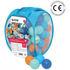 assortimento di 75 palline multicolore morbide (blu-turchese-arancione-azzurro))