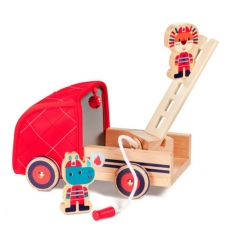 marius - camion dei pompieri con personaggi in legno e stoffa