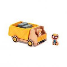 georges - camion dei rifiuti con personaggi in legno e stoffa