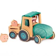 rosalie - trattore con personaggi in legno e stoffa