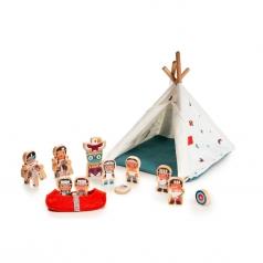 tenda degli indiani con personaggi in legno e stoffa