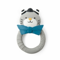 anello sonaglio in gomma naturale - gatto grigio les moustaches