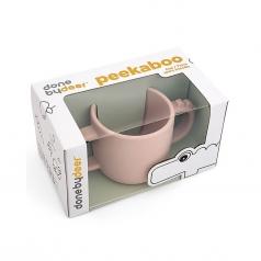 tazza con 2 manici in silicone alimentare -peekaboo- croco - rosa cipria - 170 ml