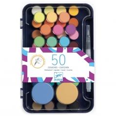 palette d'artiste - 50 colori con pennello ad acqua