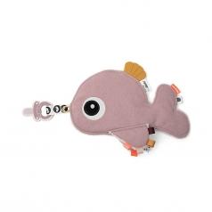 doudou con reggiuciuccio cozy friend wally - rosa cipria - 25x22 cm