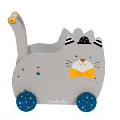 carrello primi passi gatto grigio - les moustaches trolley in legno