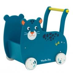 carrello primi passi pantera blu dans la jungle - trolley in legno
