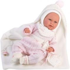 mimi con coperta bianca - bambola 42 cm corpo in tessuto