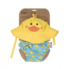 set baby costumino contenitivo + cappellino, anatroccolo - upf 12-24 mesi
