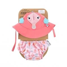set baby costumino contenitivo + cappellino - cavalluccio marino - upf 50+ 6-12 mesi