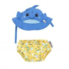 set baby costumino contenitivo + cappellino - balena - upf 50+ 3-6 mesi