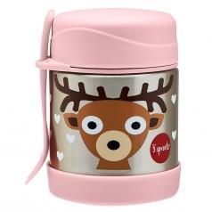 thermos porta cibo in acciaio inossidabile con cucchiaio-forchetta, 350 ml - cerbiatto rosa
