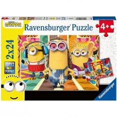 minions - puzzle 2x24 pezzi