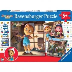pinocchio - puzzle 3x49 pezzi