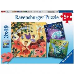 creature fantastiche - puzzle 3x49 pezzi