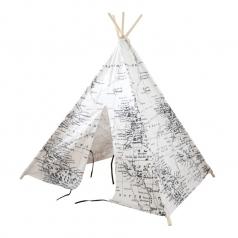 teepee tent world map - tenda mappa del mondo - bianco e nero