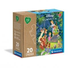 disney libro della jungla e peter pan - puzzle 2x20 pezzi - play for future