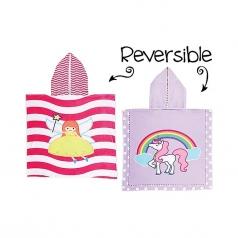 accappatoio poncho reversibile fatina - unicorno
