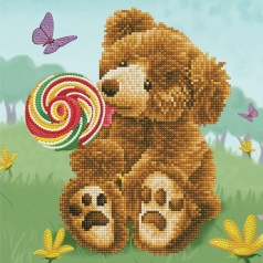 honey pot bear lolly pop lick - diamond dotz intermediate dd6.032 30x30cm