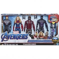 avengers titan hero - set 4 personaggi 30cm - ironman + captain marvel + starlord + black panther