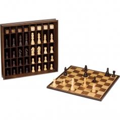 scacchiera contenitore in legno scacchi e dama 36cm